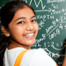 Cheerful Indian Girl Student with Mathematics Problems
