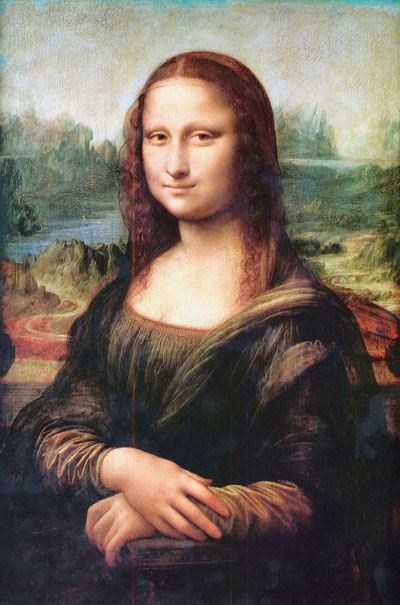 "Our centuries-old fascination with da Vinci's La Gioconda (shown here restored to her original colors) is said to be due to her faint smile — at once human, mysterious, attractive, and unattainable. Leonardo said of the technique he used to paint the famous portrait, sfumato, that it was ""without lines or borders, in the manner of smoke or beyond the focus plane,"" an accurate description of the many-facetted nature of smiling."