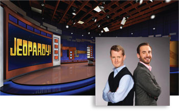 The show's two most successful and celebrated contestant Left: Ken Jennings won a record 74 Jeopardy! games in a 2004 and 2005. Right: Brad Rutter had $3.25 million in Jeopardy! winnings.