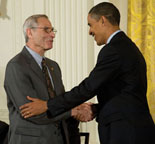 Michael Posner receives the National Medal of Science from President Obama.