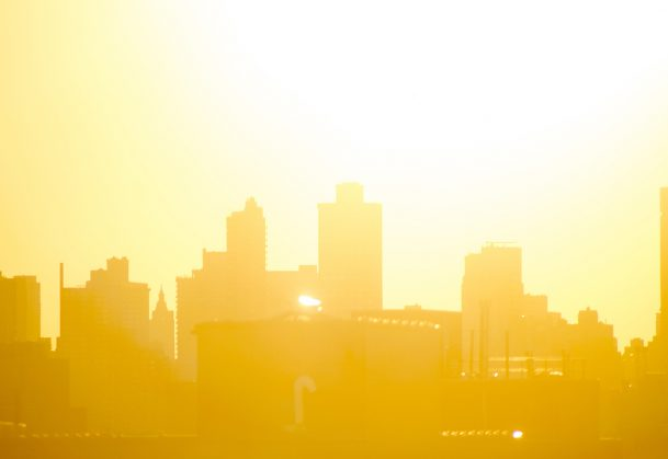City background in bright morning sun