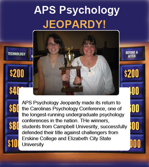 Winners of APS Psychology Jeopardy, Meghan Northgrove (left) and Yvonne Fritz (right).