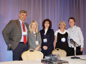 Symposium speakers Tyrone Cannon, Jill M. Hooley, Robin Cautin, Elaine F. Walker, and Ann M. Kring