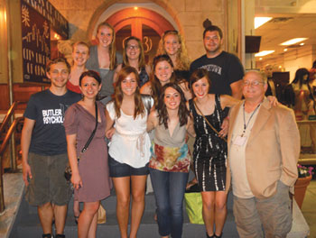 Each year John N. Bohannon (far right) brings students from Butler University to present at the APS Convention. The Convention is also a family affair for him.