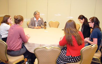 Varda Shoham talks with students at the Champions of Psychological Science roundtable. This annual event offers students an opportunity to meet leading researchers.