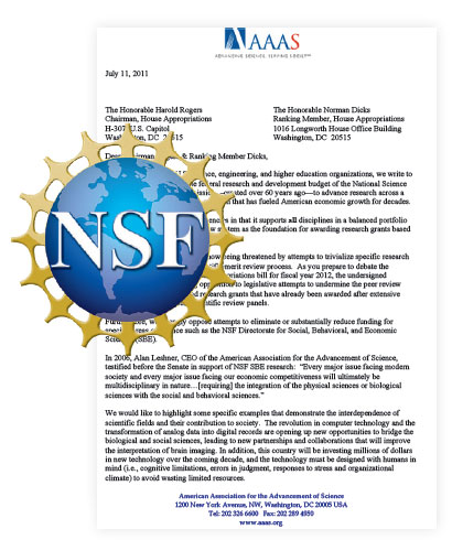 This is a photo of the the letter drafted by AAAS to be sent to the House Appropriations subcommittee that funds the National Science Foundation, asking for general NSF support against the targeting going on in Congress aimed at the Social, Behavioral and Economic Sciences Directorate.