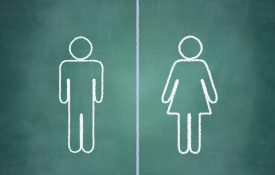 Man and woman symbols separated by a line