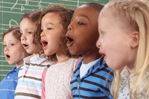 This is a photo of children singing.