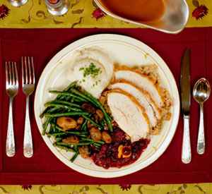 This is a photo of a Thanksgiving meal. Learn what not to feed your guests and why comfort food make us feel so much better when we're down.