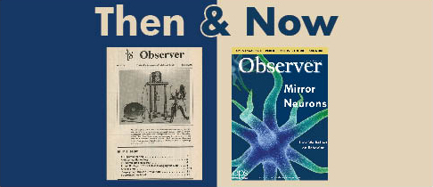 This is a photo of an old cover of the APS Observer and a newer cover of the APS Observer.
