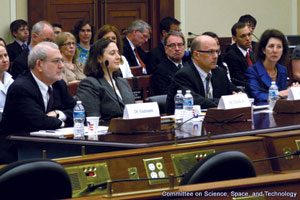 Hillary Elfenbein (second from the left) testifying on a panel for the Congressional Committee on Science, Space, and Technology