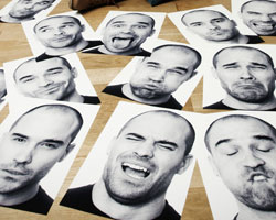 This is a photo of pictures of one man making various facial expressions.