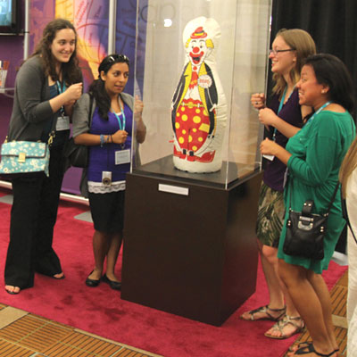 Albert Bandura's original Bobo doll is a real hit in the Exhibit Hall, where attendees could also pose for photos with a faux Bo.