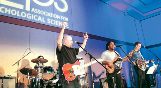 "Blues singer Dale Boyle leads the band in a lively performance of ""Flip, Flop, and Fly."""