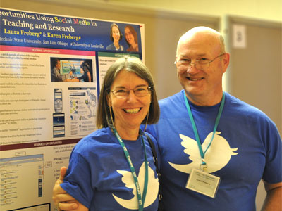 Laura Freberg and husband Roger Freberg sport Twitter t-shirts, showing their commitment to her latest investigation into social media.