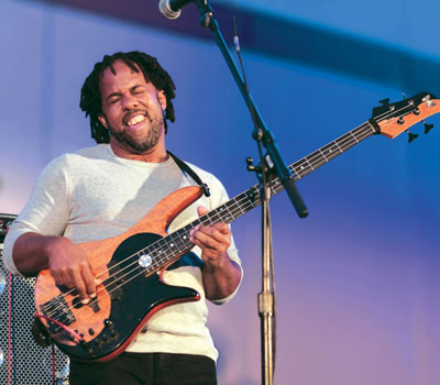 "Bassist Victor Wooten jams out during his funkified version of ""Amazing Grace."""