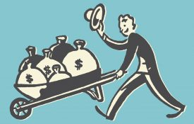 This is an illustration of a man with a wheelbarrow of money