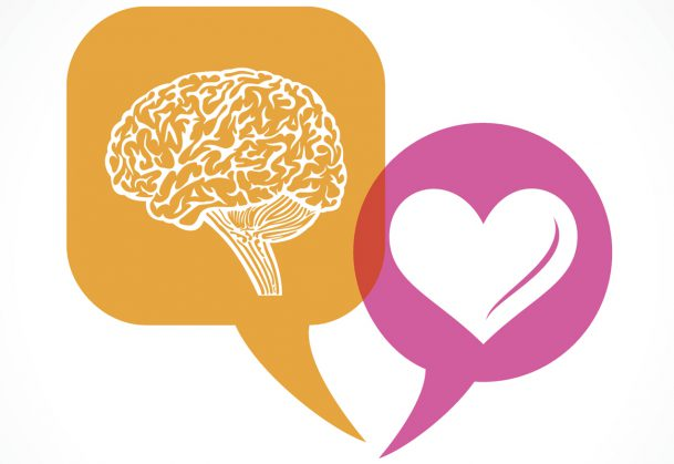 Brain and heart in message bubble