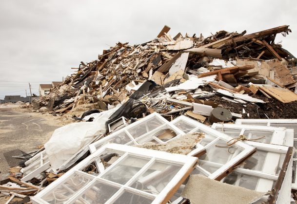 Hurricane destruction at the New Jersey Shore after Super Storm Sandy.