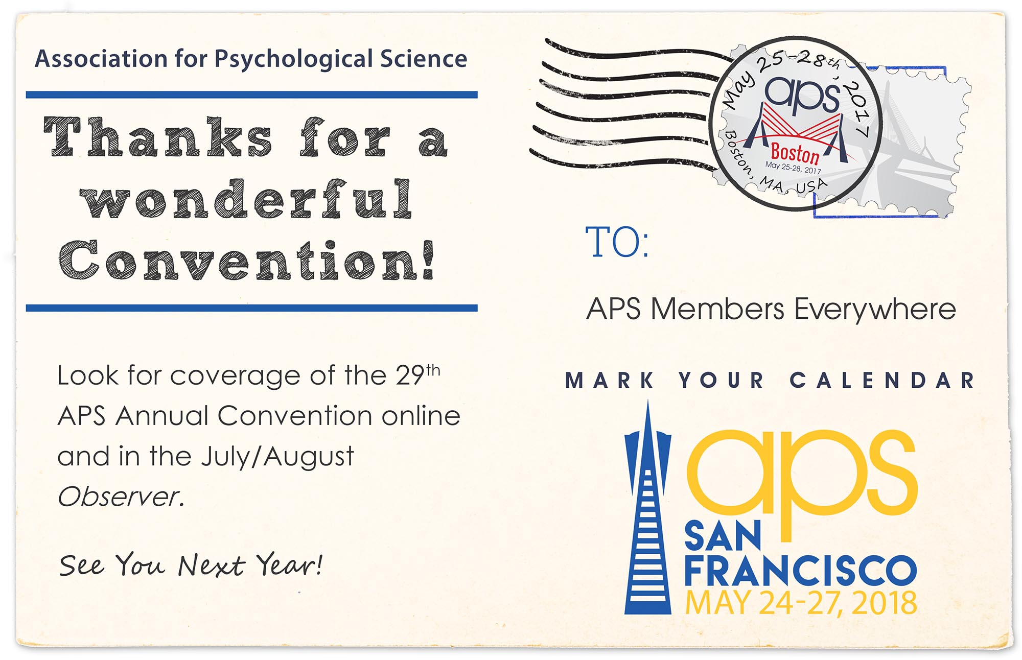 Postcard graphic thanking attendees for attending the 29th Annual APS Convention.