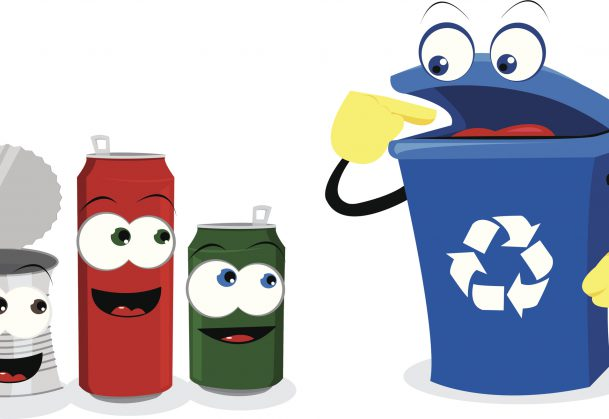 a vector cartoon reprenseting a recycling bin and some empty cans