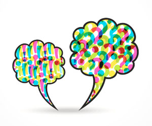 This is an image of speech bubbles with question marks and exclamation points.