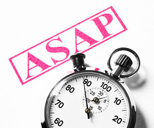 "This is a photo of a stopwatch and the text ""ASAP."""
