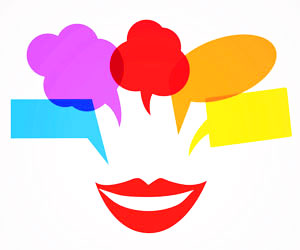 This is an image of different speech bubbles coming out of a mouth.