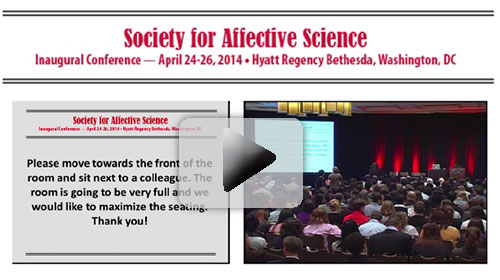 This is a photo of a video presentation from the Inaugural Conference of the Society for Affective Science.