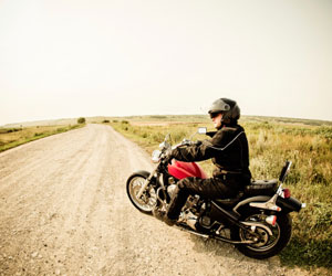 This is a photo of a person riding a motorcycle.