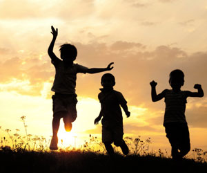 This is a photo of children running.