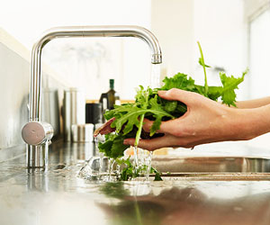 This is a photo of a person washing leafy greens.