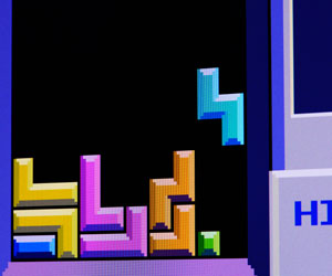 This is a photo of the computer game Tetris.