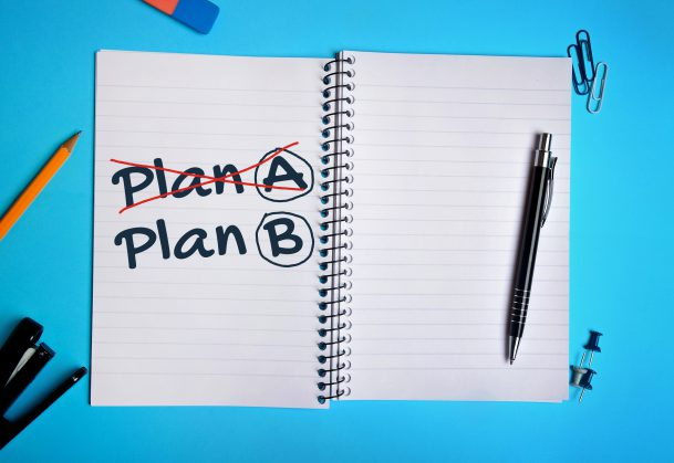 Plan A Plan B word on notebook