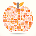 This is a thumbnail image of an apple made up of various science and research tools and symbols.