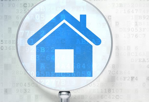 Protection concept: Home with optical glass on digital background