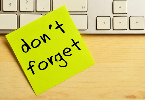 Don't Forget Written on Postit