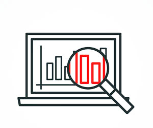 This is an illustration of a magnifying glass over data on a laptop screen.