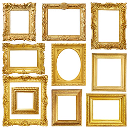 This image is of a set of gold vintage frames on a white background.