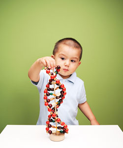 This is a photo of a child building a double helix.