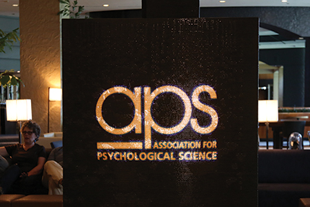 The fountain of water in the Sheraton Grand Chicago was lit up with the APS logo in honor of the convention.