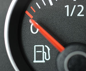 This is a photo of a gas gauge reading empty.