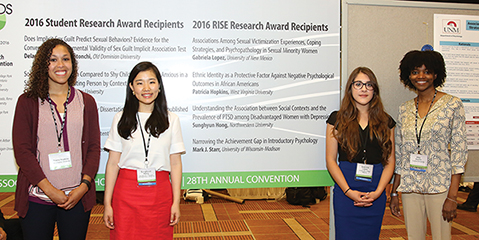 This is a photo of the RISE award recipients at the 2016 APS Convention in Chicago.