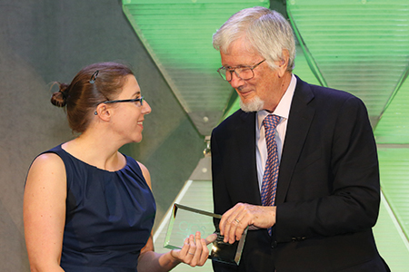 APS President C. Randy Gallistel presents Kristina R. Olson of the University of Washington with a Janet Taylor Spence Award for Transformative Early Career Contributions. Olson's research includes studies on transgender children and early prosocial behavior. Other 2016 Spence Award recipients include Joshua W. Buckholtz, Harvard University; June Gruber, University of Colorado Boulder; Mark L. Hatzenbuehler, Columbia University; and Franco Pestilli, Indiana University Bloomington.