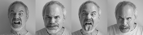 This is a photo of a man making various scary faces for the facial configuration of Boo..