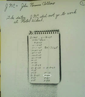 This is a photo of the notes from the investigating officer with the date 3-20 circled.