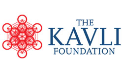 Kavli Foundation Logo, red swirly thing and then the text of the foundation name