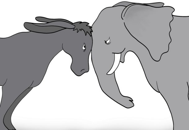 An illustration of a United States donkey (Democratic party) and an elephant (Republican party) going head-to-head.