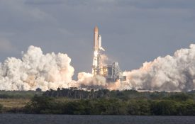 Initial thrust from NASA Space Shuttle launch