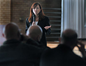 This is a photo of Marisa Randazzo running a school threat assessment training session